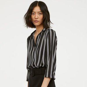 B&W Multi-Directional Striped Boxy Cut Blouse